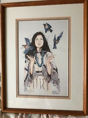 Pati Deuter signed Turquoise & Blue Bird Water Color Framed and Matted