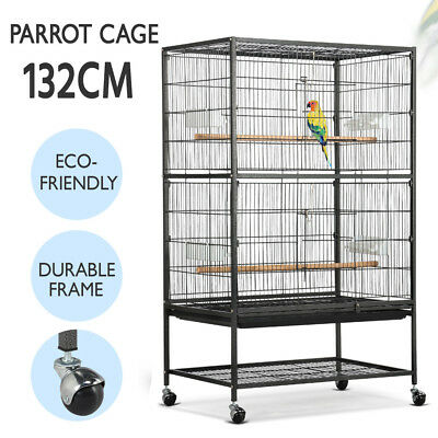 Large Bird Cage Parrot Aviary Pet Stand-alone Budgie Perch Castor Wheels Black