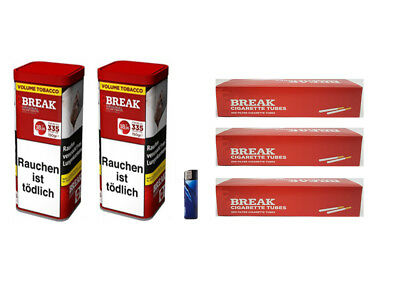 2 x Break Original Volumentabak 120g, 600 Break Hülsen, 1x Feuerzeug