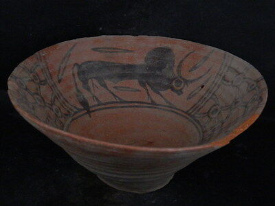 Ancient Large Size Teracotta Painted Bowl With Bulls Indus Valley 2500 BC #Ik840