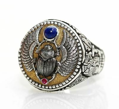 """""""Ancient Egyptian Scarab Beetle"""" ring (925 Silver & 24k Gold)"""