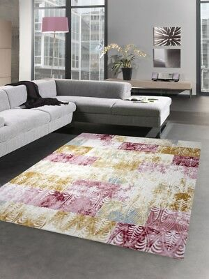 Designer Tapis Contemporain Heather Salon Karo Stained Rose Crème Turquoise