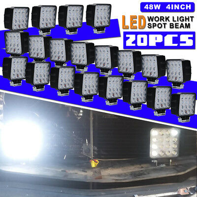 20pcs 4in 48W Dual Row LED Pods Work Light Bar 6000K Spot Daytime Light For Boat