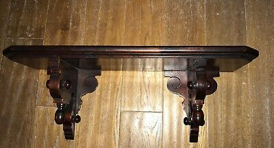Large Antique/Vintage Classical Carved Mahogany Wall Plinth Shelf Architectural