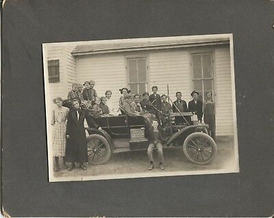 Cabinet Photo School Children in Car Front of School 1912 District 14 Agnes Mill
