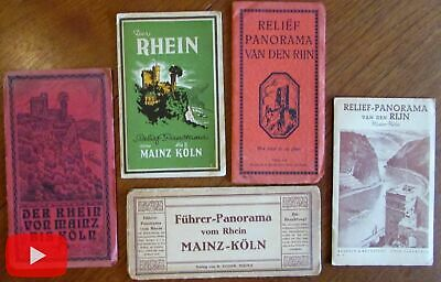Germany Rhine River Panoramas c.1910-50 lot of 5 pictorial maps cities