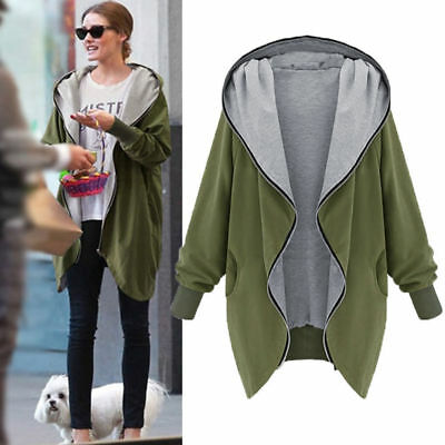 Womens Fashion Long Sleeve Hoodie Loose Fuzzy Solid Cardigan Sweater Hooded Coat