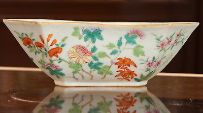 Antique Chinese Famille Rose Porcelain Bowl Marked 19th C. Qing