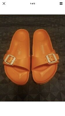 0390a9d2113 WOMEN S Neon Orange plastic BIRKENSTOCK sandals Sz. 9 Madrid EVA soft shoes