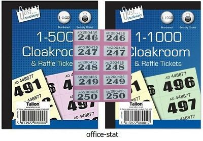 Cloakroom Tickets Raffle Tickets Books Of 500 Or 1000 Tombola Tickets Numbered