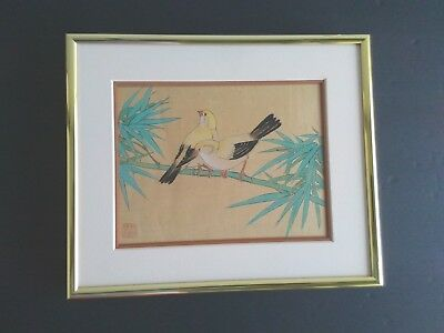 Original Vintage Chinese Painting On Silk Goldfinch Birds Signed Framed Asian