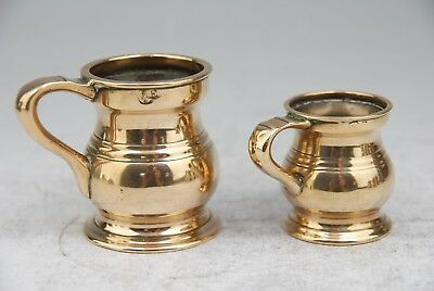 Superb Pair Of Antique Bronze Or Brass ½ Gill & Gill Tankards Measures C19Th