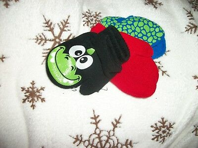 3 Pairs Toddler Boys Mittens - Dinosaurs Dino Dinosaur Scales Black Red Blue