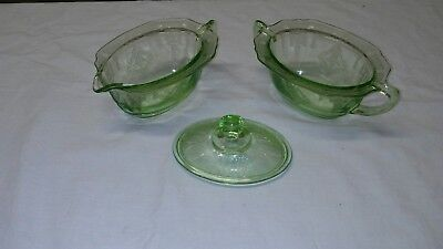 Vintage green Glass Embossed Depression Glass Creamer And Sugar W/Lid