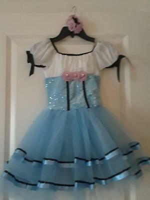 Girls Light Blue Sequined-Net Dance Costume Sz Sc  Pink Rose Accent By Weissman
