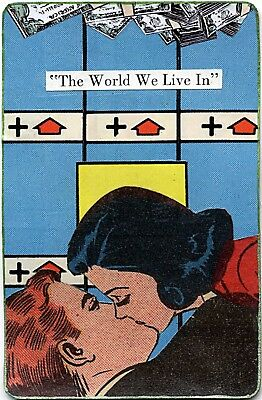 """""""The World We Live In"""" small mixed media collage altered art card romance comics"""