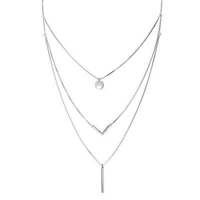 """S925 Sterling Silver Triple Layer Pendant Choker Necklace for Women 16""""+2&q"""