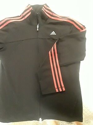 Adidas jacket womens large black with hot pink stripes