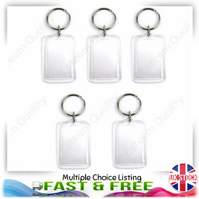 Clear Acrylic Blank Photo Picture Frame Key Ring Keychain Keyring Gift