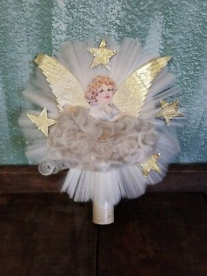 1940's Spun Glass Angel Tree Topper Gold Foil Wings Stars National Tinsel Co.