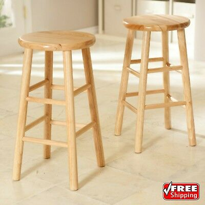 Set Of 2 Counter Height Bar Stool White Wood Padded Gray Seat Chair