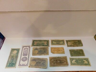 Lot Of 11 Old Chinese Yuan Banknotes