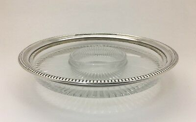 Frank Whiting Sterling Silver Glass Crystal Divided Serving Vegetable Snack Dish