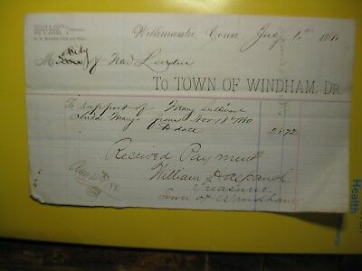 1881 Bill to Town of Windham from New London Child Support
