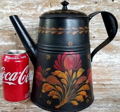 Antique Tole Ware Painted Tin Coffee Pot Pennsylvania Dutch Primitive