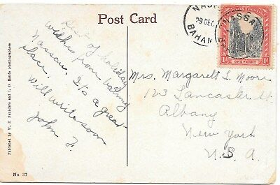 Bahamas  #71  On Ppc Posted To Albany, N.y.29 Dec, 1926