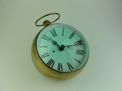 Antique Vintage Huge Glass & Brass Ball Orb Clock 9""