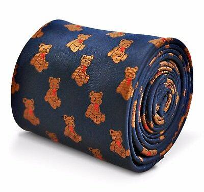 Navy Blue Mens Tie with Teddy pattern FT3234