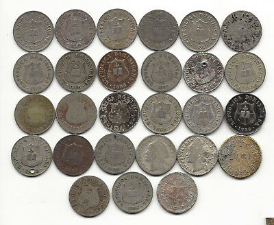 22. Dominican Rep. World Coin; 27 Coins1800's / Km7.3,km3,km13, Some.350 Silver