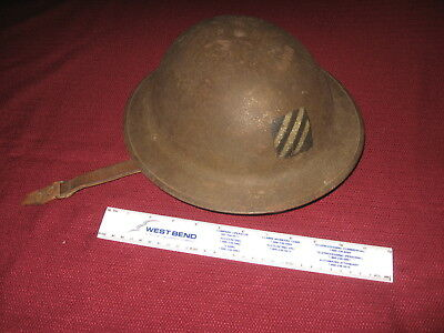 WWI US DOUGHBOY HELMET with 3rd DIVISION INSIGNIA w/LINER & broken strap
