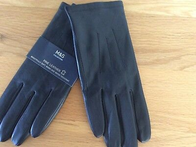 Bnwt Marks And Spencer Black Fine Leather Gloves Size Large