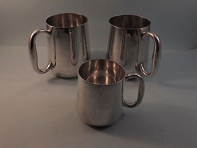 Collection Of Three Elkington Silver Plated Tankards 1933