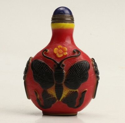 Vintage China Coloured Glaze Snuff Bottle Statue Old Hand Carved Butterfly Gift