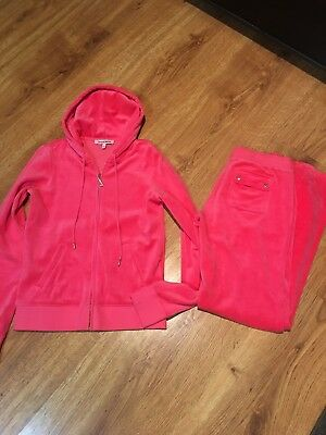 NWOT Juicy Couture L M Pink Bling Velour  Hoody Track Suit Set Pink