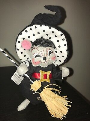 """Annalee Figure Doll 6"""" Polka Dot Witch Mouse Halloween Fall Mobility Doll"""