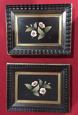 Pair Of Antique Pietra Dura Flowers Framed by Saxon & Clemens, VG Condition !