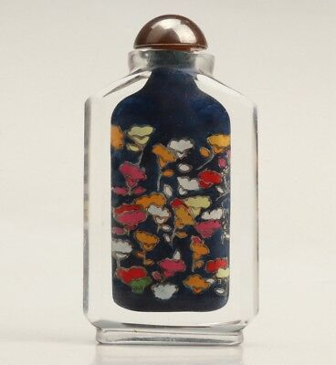Antique Chinese Glass Snuff Bottles Decorated Hand-Painted Paintings+Box