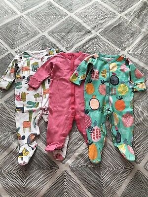 Baby Girls Next 3x Sleepsuits Babygrows Age 3-6 Months.