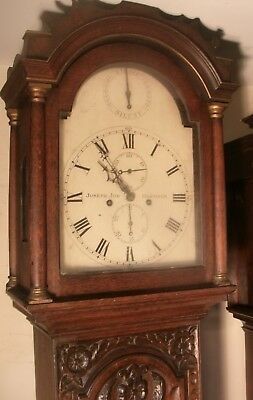 "Antique Carved Oak  ""  Hastings  ""  Longcase / Grandfather  Clock"