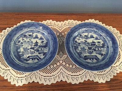 Pair of Antique Chinese Blue & White Porcelain Canton Bowls - Repaired / Damage