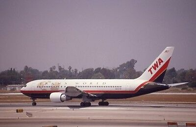 Trans World Airlines TWA Boeing 767 new colors N605TW - Original 35mm slide
