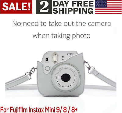 For Fujifilm Instax Mini 9 8+ 8 Vintage PU Leather Compact Protective Case Cover