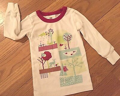 Tea Collection Girls Pajama Top Only 6 12 Months White Trees Wildlife