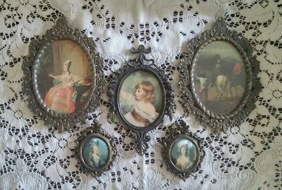 Vintage Lot of 5 Ornate Brass Metal Frames W/ Victorian Prints Italy