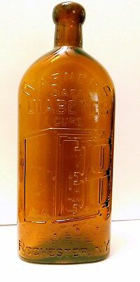 Warner's SafeDiabetes Cure-Large -Root BeerAmber - Authentic Antique - Mint