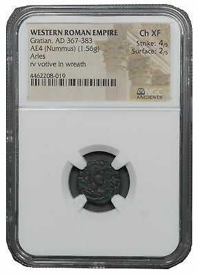 367-383 A.D. AE4 Nummus, Aries w/Votive in Wreath 1C Choice Extremely Fine NGC